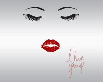 Lips clipart eyelash Cricut you lashes Files Eyelash