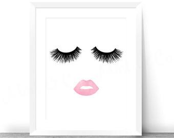 Lips clipart eyelash Eyelashes Print & Printable Etsy