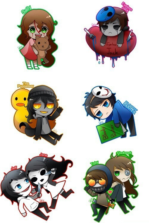 Eyeless Jack clipart creepypasta character Puppeteer Bloody Jeff and Jeff