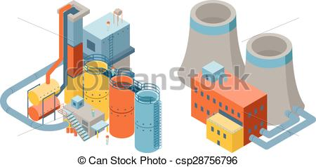 Factory clipart 3d factory Industrial csp28756796 icons EPS flat