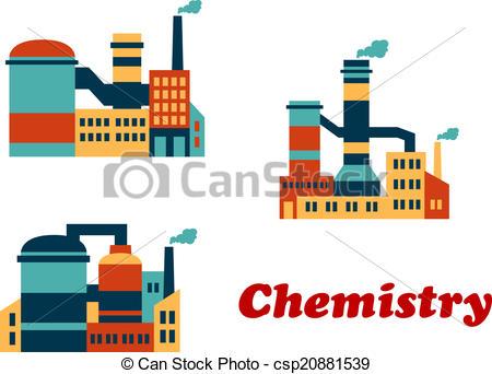 Industrial clipart chemical factory Plants plants Colorful factories flat