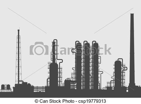 Industrial clipart chemical factory Vector Oil silhouette refinery chemical