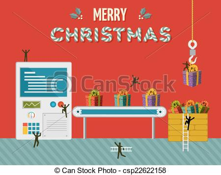 Factory clipart christmas Creative gift illustration factory of