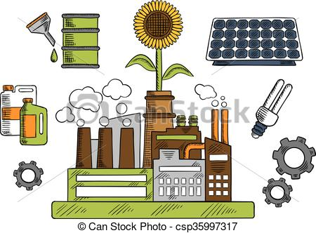 Factory clipart energy Factory friendly with Eco of