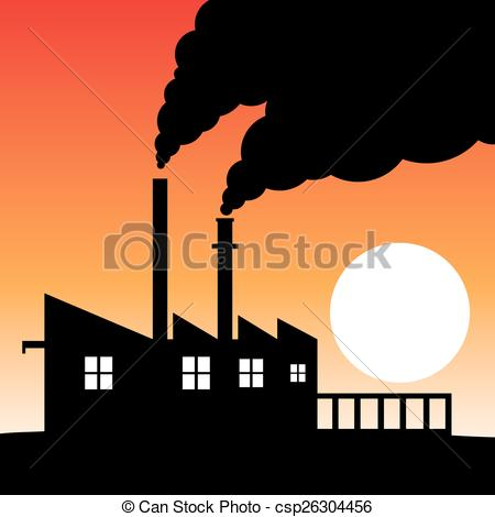 Factory clipart factory air pollution Of  air silhouette Factory