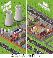 Factory clipart industrial area Vertical Isometric Industrial factory Factory