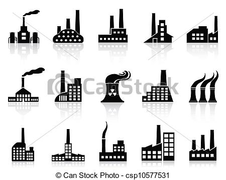 Factory clipart outline Set factory Vector black set