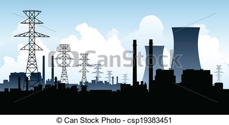 Factory clipart power generation Of skyline  Nuclear Clipart