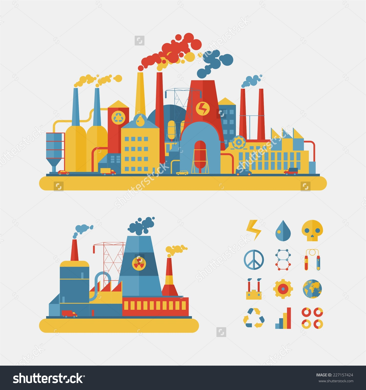 Factory clipart power plant Design : Factory Style Set