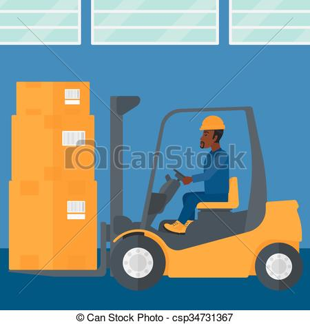 Factory clipart environmental pollution By Warehouse moving load forklift