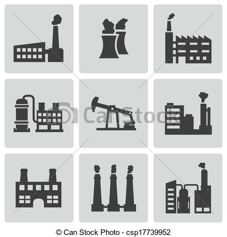 Factory clipart vector art Set icons black on black