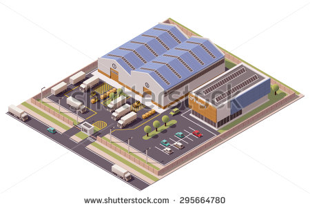 Factory clipart warehouse building Element set Vector representing representing