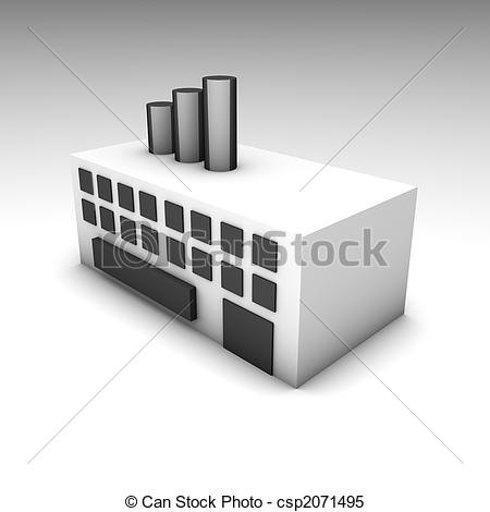 Factory clipart warehouse building Or  3D Stock Illustration