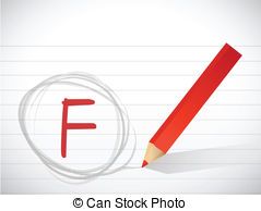 Fail clipart f grade Test F written Stock grade