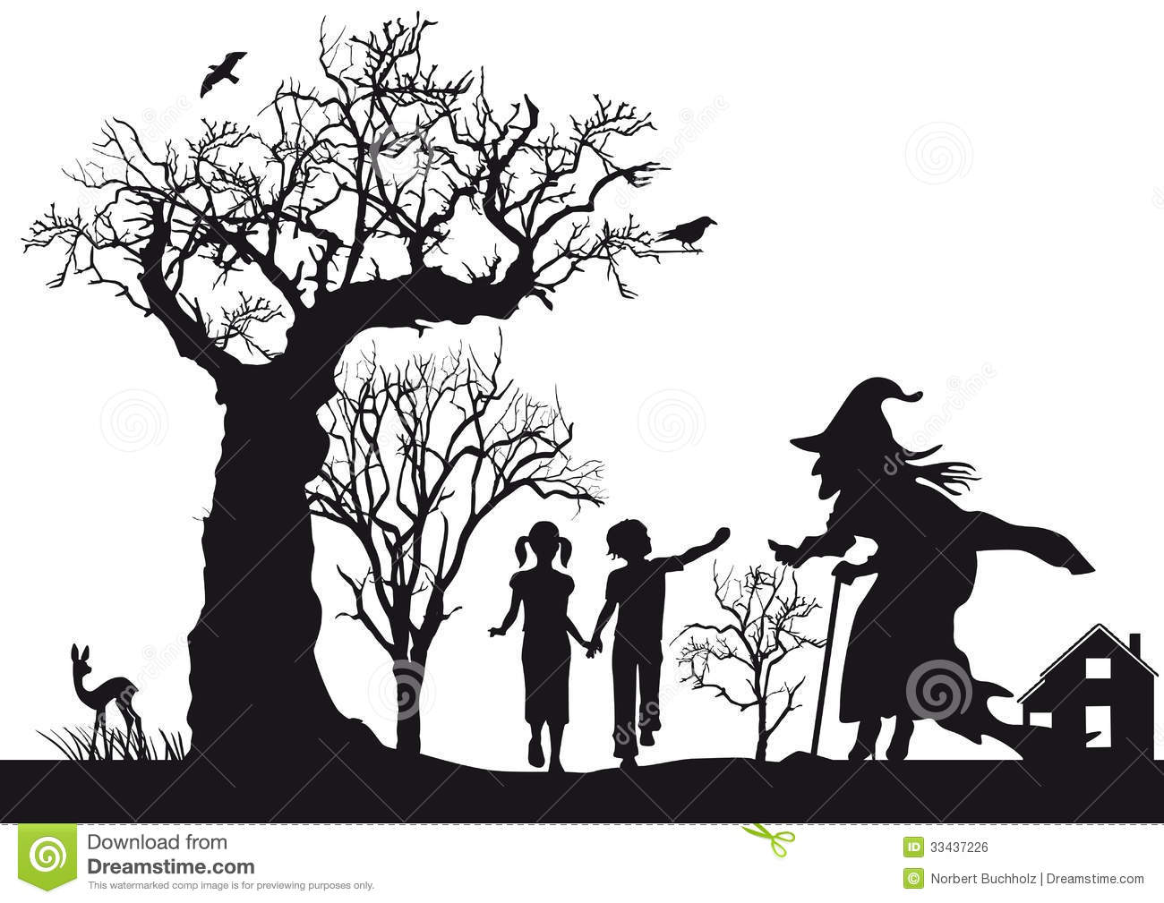 Witch clipart fairytale Clipart and Hansel Background Royalty