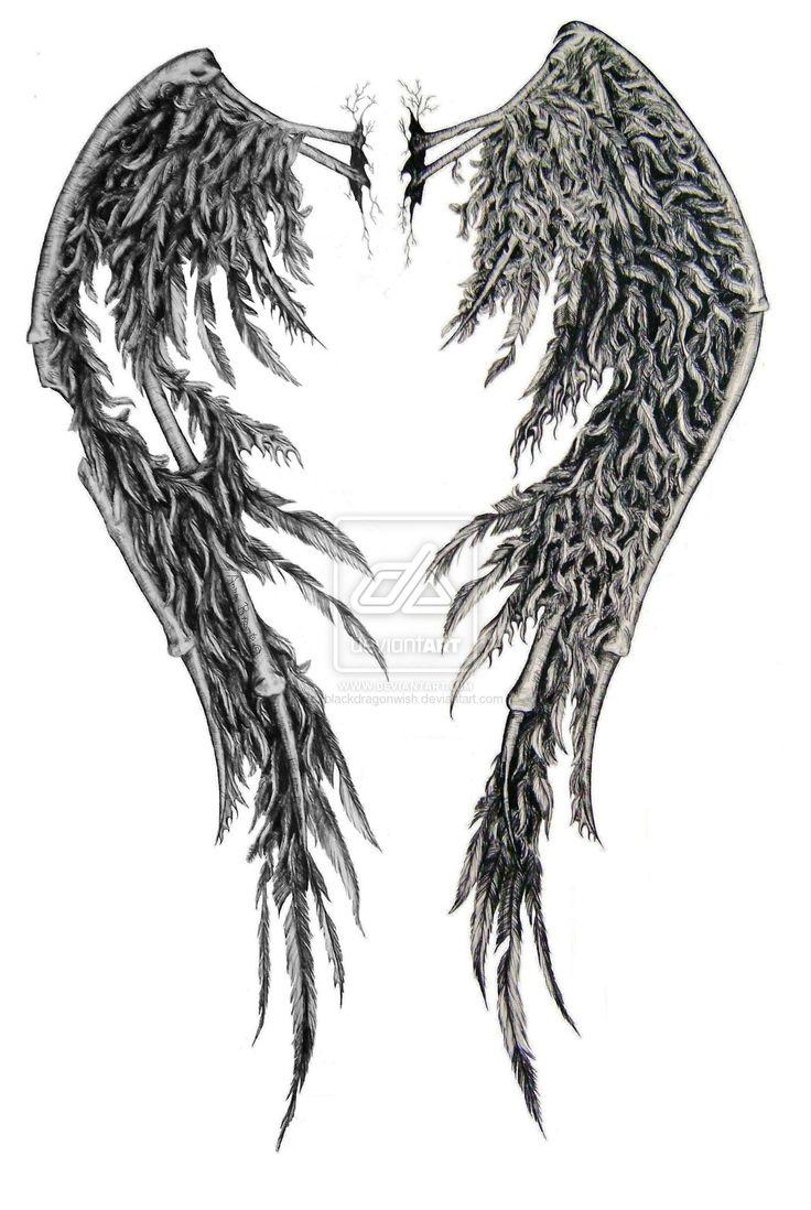 Drawn angel torn wing Tattoo Fallen 25+ wings on