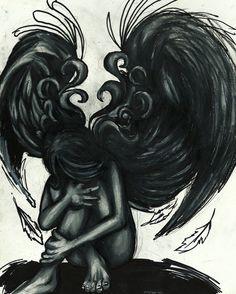Fallen Angel clipart grey Angel Angel Tattoo's by DeviantArt