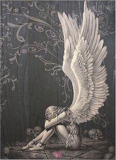 Fallen Angel clipart grey Broken angel black Halo with