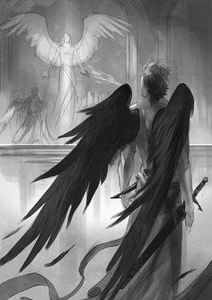 Fallen Angel clipart grey Shining gazed pile open and