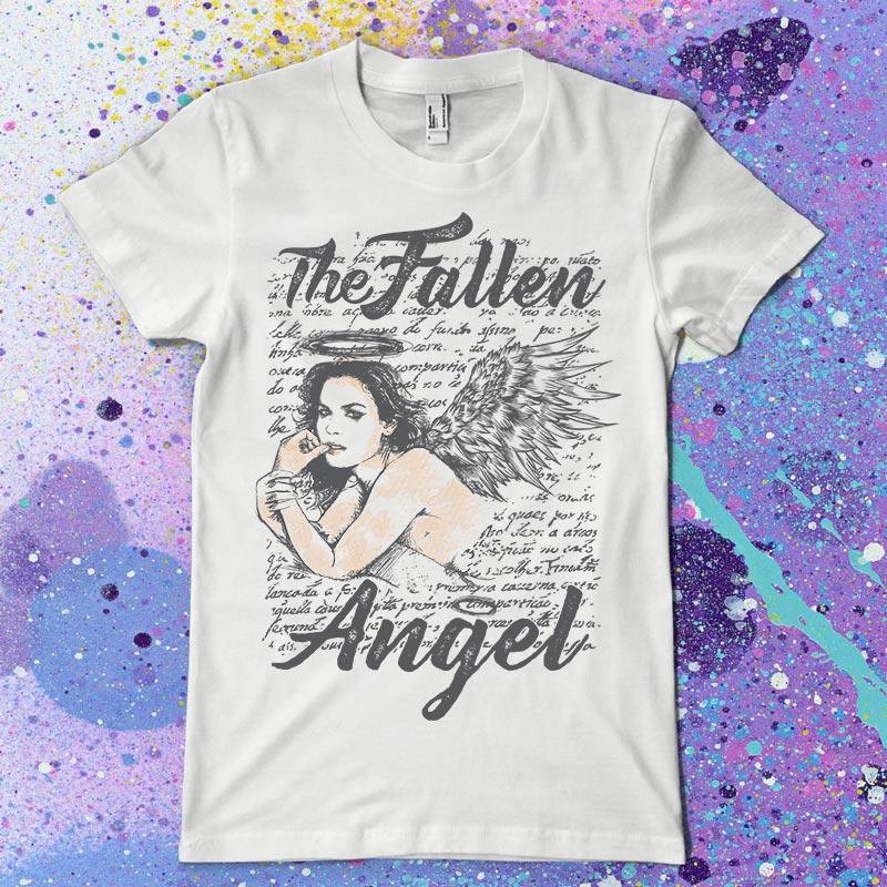 Fallen Angel clipart line art T Fallen T Tshirt shirt
