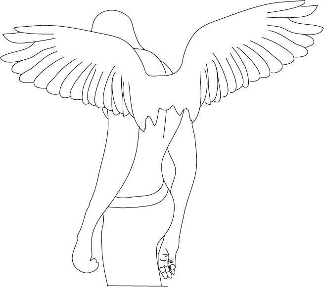 Fallen Angel clipart outline Find best Outline Pinterest this
