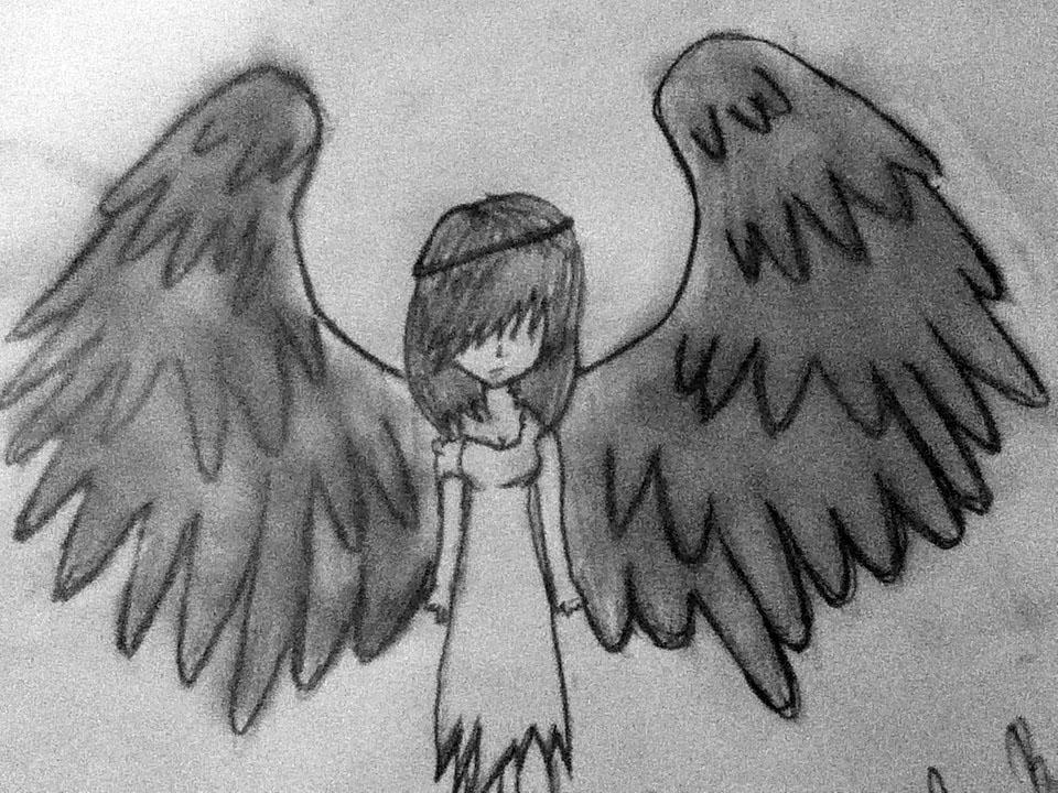 Fallen Angel clipart outline Fallen Pinterest angel draw drawing