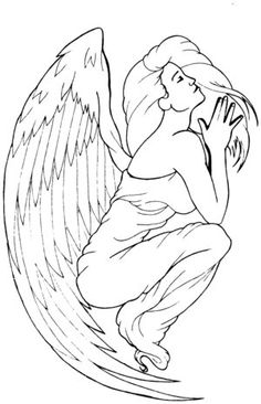 Fallen Angel clipart outline Sitting cheshire Angel by Tattoos