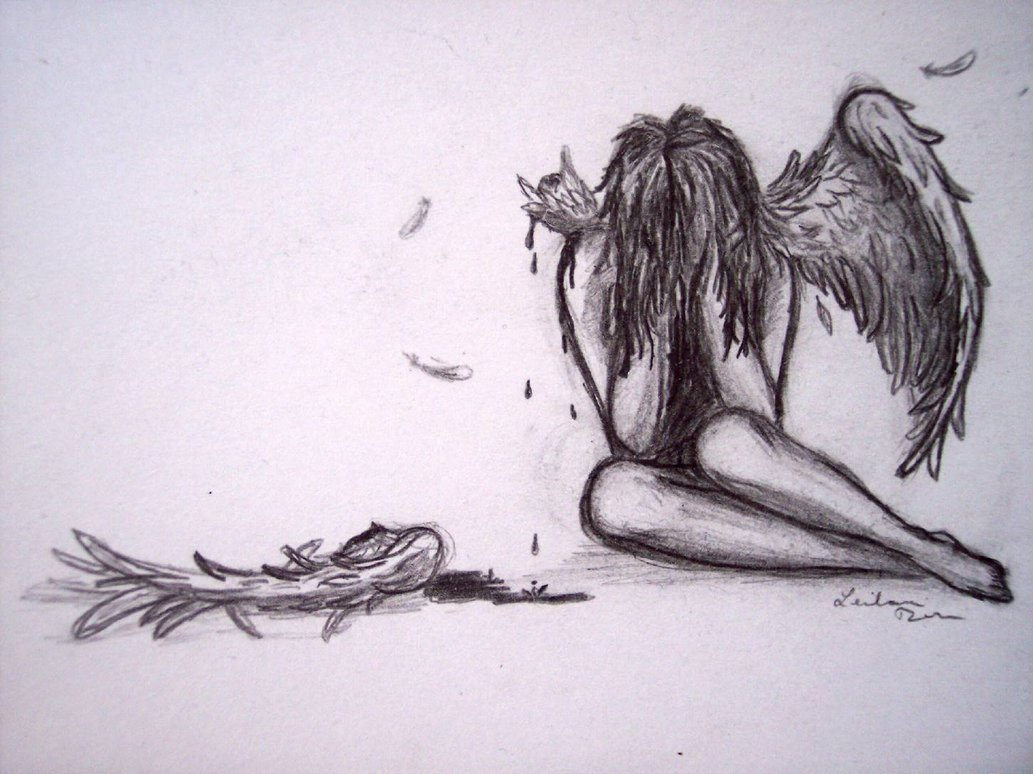Drawn sad angel Touched Need the Like wings