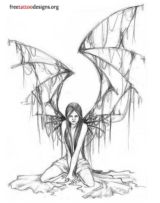 Fallen Angel clipart rib For ooouu design Tatt tattoo