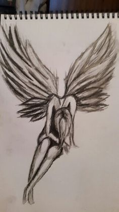 Drawn skeleton angel Sketch fallen drawings Google Search