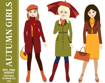 Coat clipart womens clothing SALE Clothes fall Autumn Clip