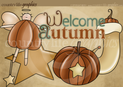 Country clipart autumn Graphics Primitive Welcome Collection Autumn
