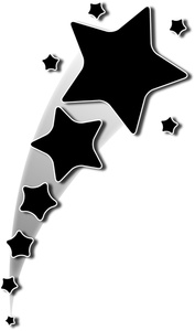 Falling Stars clipart black and white And Panda Stars  Black