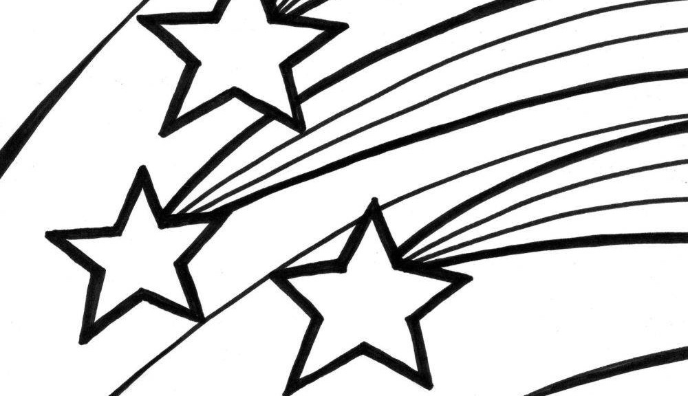 Falling Stars clipart black and white Shooting – clipart com Black