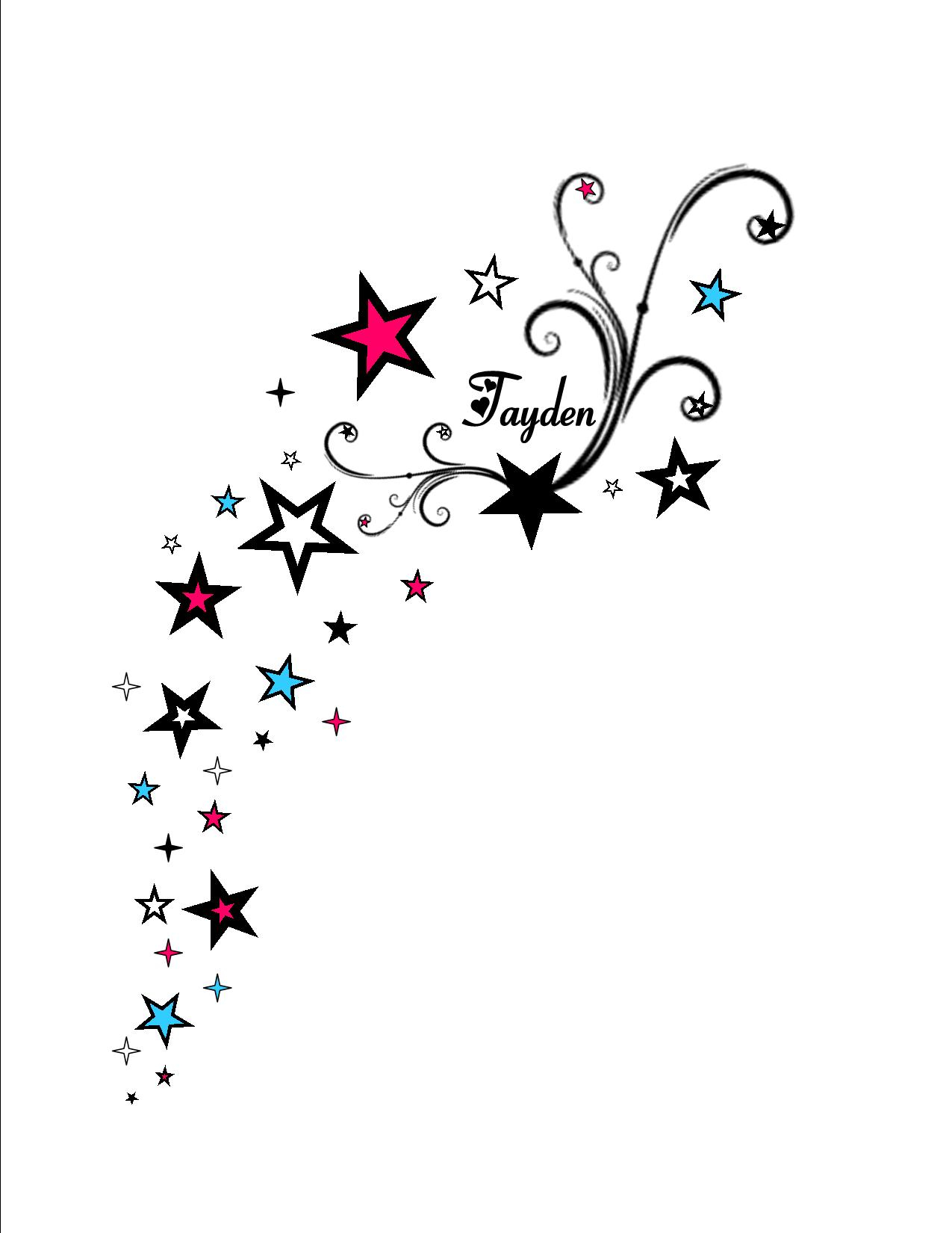 Falling Stars clipart colourful star Black/white Designs Tattoo but thought