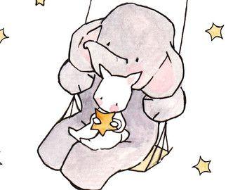 Falling Stars clipart kindergarten Nursery Print ohhellodear Print Illustration