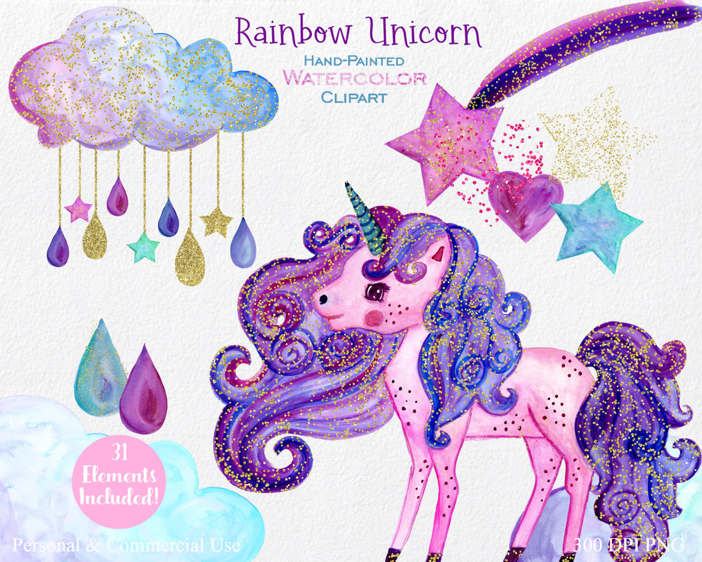 Falling Stars clipart pink Unicorn Purple clipart Clipart Rainbow