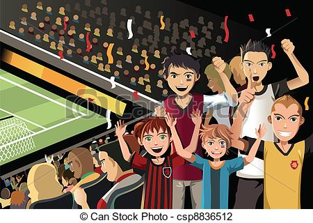 Audience clipart sport crowd Vector stadium Soccer  in