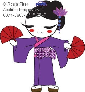 Geisha clipart black and white In Geisha a Purple a