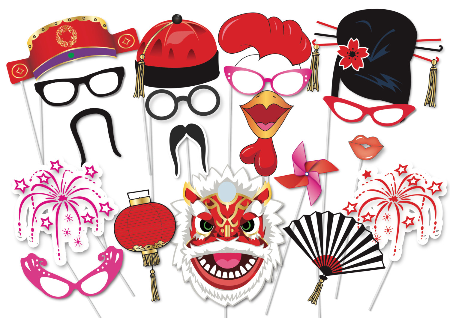 New Year clipart party supply Set New booth Chinese 35