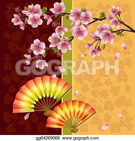 Fans clipart japanese cherry blossom Vector sakura background jpg tree