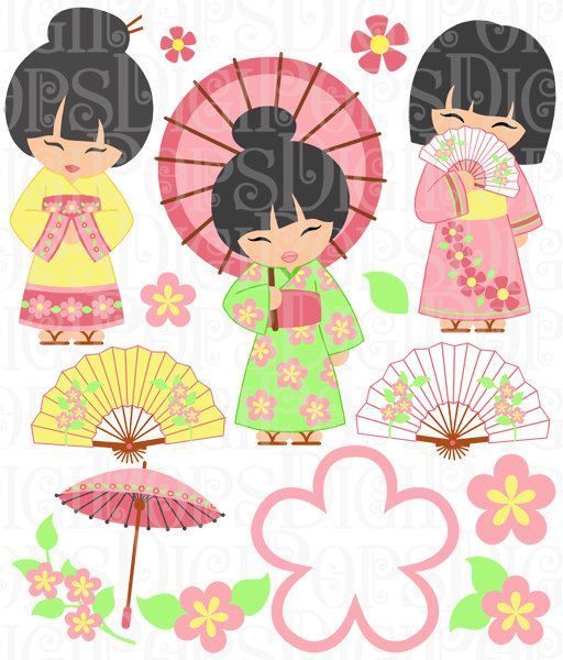 Fans clipart japanese cherry blossom Chinese Clip Girls  Commercial