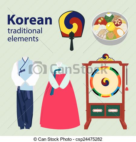 Korea clipart black and white Of elements vector elements Korean