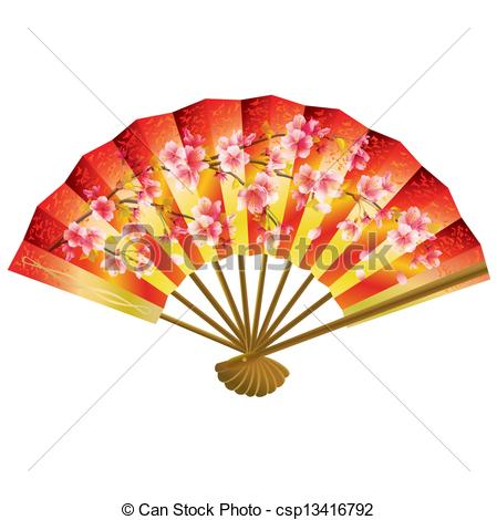 Fans clipart oriental Fan and cherry Japanese white