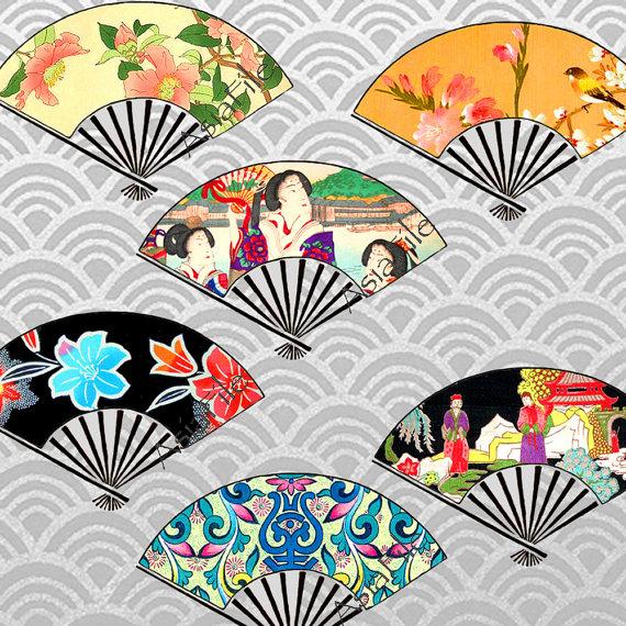 Fans clipart printable Japanese Digital  Digital Printable