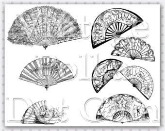 Fans clipart printable Fans Sheet Era Printable Victorian