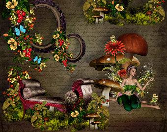 Fantasy clipart enchanted tree Magical Set Magic Digital Clip