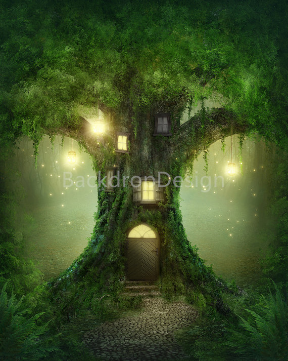 Fantasy clipart enchanted tree Backdrop Like tale green Forest