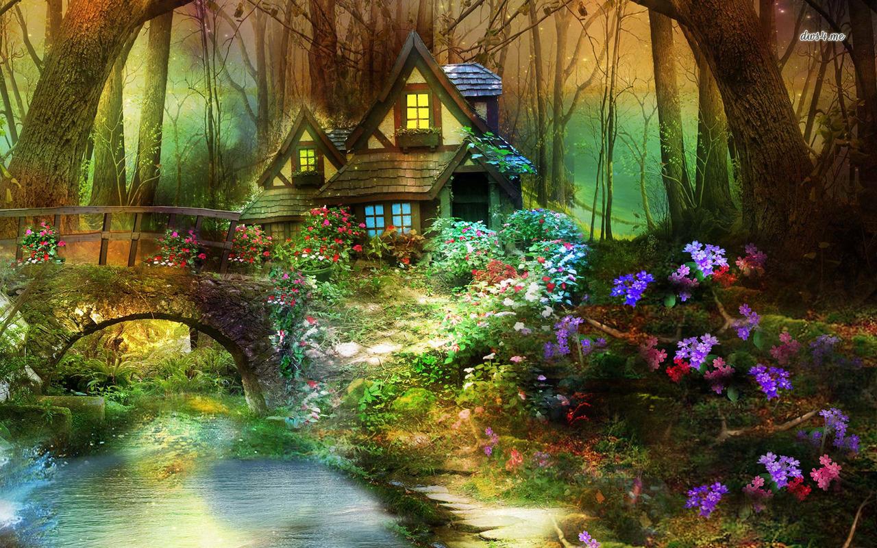 Fantasy clipart enchanted tree Enchanted hut wallpaper Enchanted Art