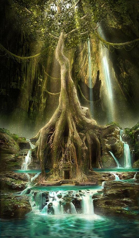 Fantasy clipart enchanted tree Keys door Fantasy roots Doors